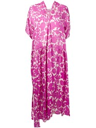 Christian Wijnants Floral Print Asymmetric Dress Women Silk 36 Pink Purple