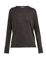 Acne Studios Taline Long Sleeved Linen T Shirt Dark Grey