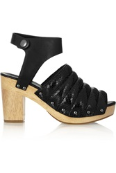 Kenzo Leather And Glossed Elaphe Sandals