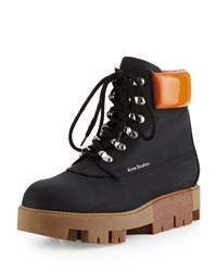 Acne Studios Telde Calf Leather Hiker Boot Black Beige Black Beige