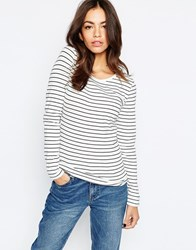 Esprit Stripe Long Sleeve Top White And Blue