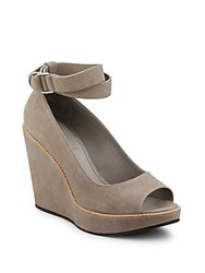 Brunello Cucinelli Embossed Leather Peep Toe Ankle Strap Wedge Sandals Beige