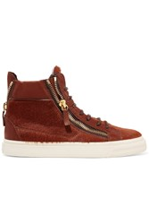 Giuseppe Zanotti Calf Hair And Leather High Top Sneakers Brown