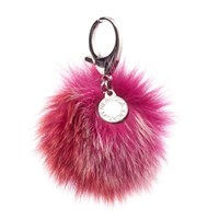 Rebecca Minkoff Women's Multi Fur Pom Pom Keyring Red Multi