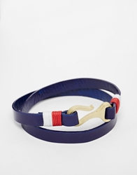 Asos Nautical Wrap Leather Bracelet In Blue
