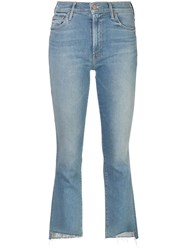 Mother Cropped Bootcut Jeans Blue