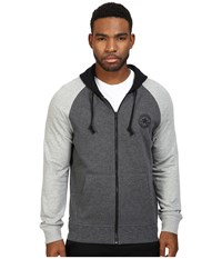 Converse Color Block Full Zip Hoodie Charcoal Marl Men's Sweatshirt Gray