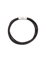 Tateossian Cobra Leather Bracelet Calf Leather Black
