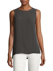 Jones New York Polka Dot Zip Blouse Black