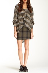 Free People Mid Rise Plaid Skirt Brown