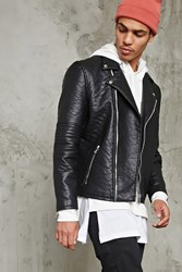 Forever 21 Ribbed Sleeve Moto Jacket Black