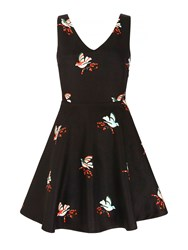 Mela Loves London Bird Print Skater Dress Black