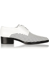 Stella Mccartney Laser Cut And Smooth Faux Leather Lace Up Flats White
