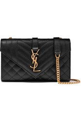 Saint Laurent Envelope Small Quilted Textured Leather Shoulder Bag Black