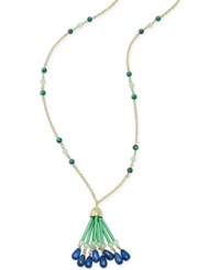 Charter Club Gold Tone Green And Blue Beaded Fringed Tassel Necklace Only At Macy's