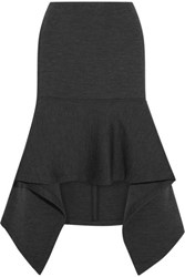 Marni Double Faced Wool Blend Jersey Skirt Gray