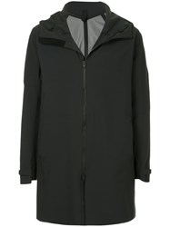 Attachment Zip Up Hooded Coat Black