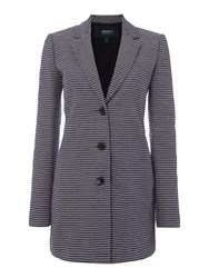 Armani Jeans Textured Contrast Stitching Overcoat Blue