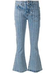 Filles A Papa Twisted Flared Jeans Cotton Polyester Spandex Elastane Blue
