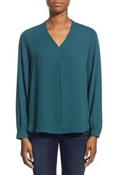 Women's Pleione High Low V Neck Blouse Teal Abyss