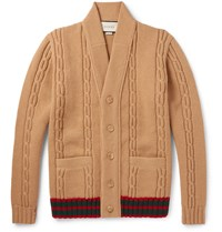 Gucci Stripe Trimmed Cable Knit Wool Cardigan Brown