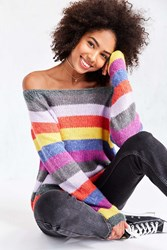 Cooperative Rainbow Stripe Off The Shoulder Sweater Novelty