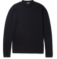Giorgio Armani Honeycomb Textured Wool Blend Sweater Blue