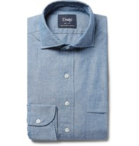 Drakes Drake's Blue Cutaway Collar Cotton Chambray Shirt Blue