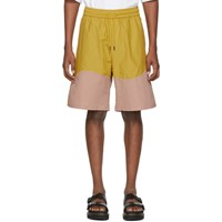 Pyer Moss Yellow And Pink Wave Track Shorts