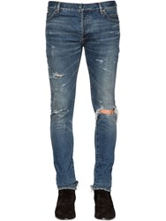 Balmain 24.5Cm Distressed Cotton Denim Jeans