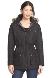 Women's Barbour 'Reflector' Faux Fur Trim Hooded Quilted Anorak