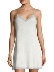 Natori Feather Essential Lace Trimmed Chemise Light Heather Grey