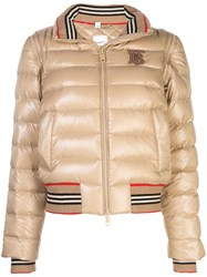 Burberry Detachable Sleeve Icon Stripe Puffer Jacket Neutrals