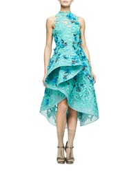 Monique Lhuillier Floral Embellished Guipure Lace Dress Mint Women's