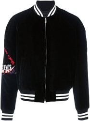 Maison Martin Margiela Embroidered Velvet Varsity Jacket Black