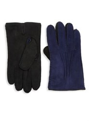 Saks Fifth Avenue Collection Two Tone Leather Gloves Blue Black Brown Tan