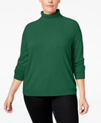 Karen Scott Plus Size Cashmelon Luxsoft Turtleneck Sweater Only At Macy's Tartan Green