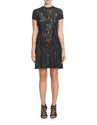 Cynthia Steffe Annette Short Sleeve Lace A Line Dress Black