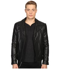 The Kooples Faded Leather Motorcycle Jacket Black Men's Coat