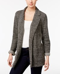 Style And Co Open Front Knit Blazer Only At Macy's Deep Black