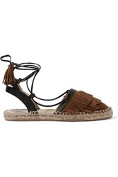 Iris And Ink Lace Up Suede Leather Espadrilles Chocolate