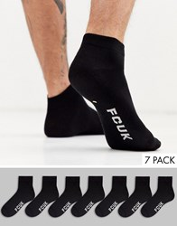French Connection 7 Pack Trainer Socks In Black
