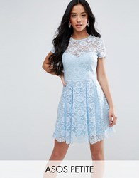 Asos Petite Lace Skater Mini T Shirt Dress Blue