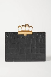 Alexander Mcqueen Four Ring Embellished Croc Effect Leather Clutch Black