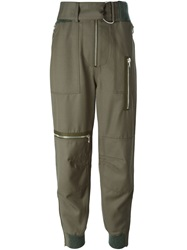 3.1 Phillip Lim Gathered Ankle Trousers Green