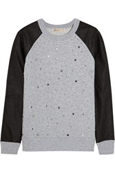 Michael Michael Kors Studded Faux Leather Paneled Cotton Blend Terry Sweater Gray