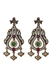 18K Yellow Gold Plated Sterling Silver Cz Ruby And Emerald Antique Look Drop Earrings Multi