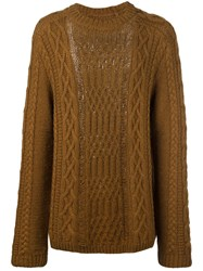 Maison Martin Margiela Distressed Cable Knit Jumper Brown