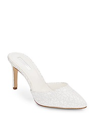 Bcbgeneration Diamond Crackled Leather Mule Pumps White