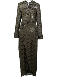 Fleur Du Mal Leather And Sequin Dress Green
